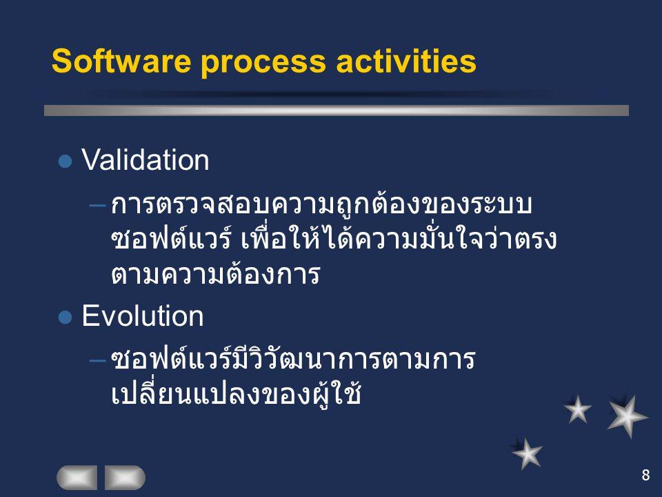 8 Software process activities Validation – การตรวจสอบความถูกต้องของระบบ ซอฟต์แวร์ เพื่อให้ได้ความมั่นใจว่าตรง ตามความต้องการ Evolution – ซอฟต์แวร์มีวิ