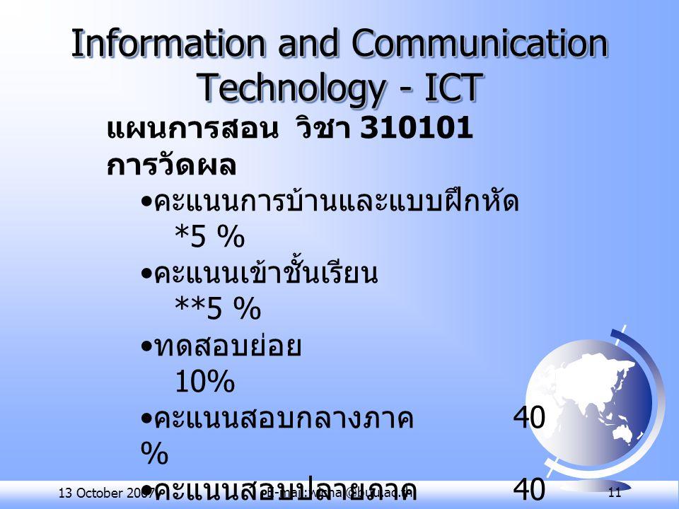 13 October 2007E-mail:wichai@buu.ac.th 11 Information and Communication Technology - ICT แผนการสอน วิชา 310101 การวัดผล คะแนนการบ้านและแบบฝึกหัด *5 % คะแนนเข้าชั้นเรียน **5 % ทดสอบย่อย 10% คะแนนสอบกลางภาค 40 % คะแนนสอบปลายภาค 40 % http://www.cs.buu.ac.th/~31 0101 http://www.cs.buu.ac.th/~31 0101