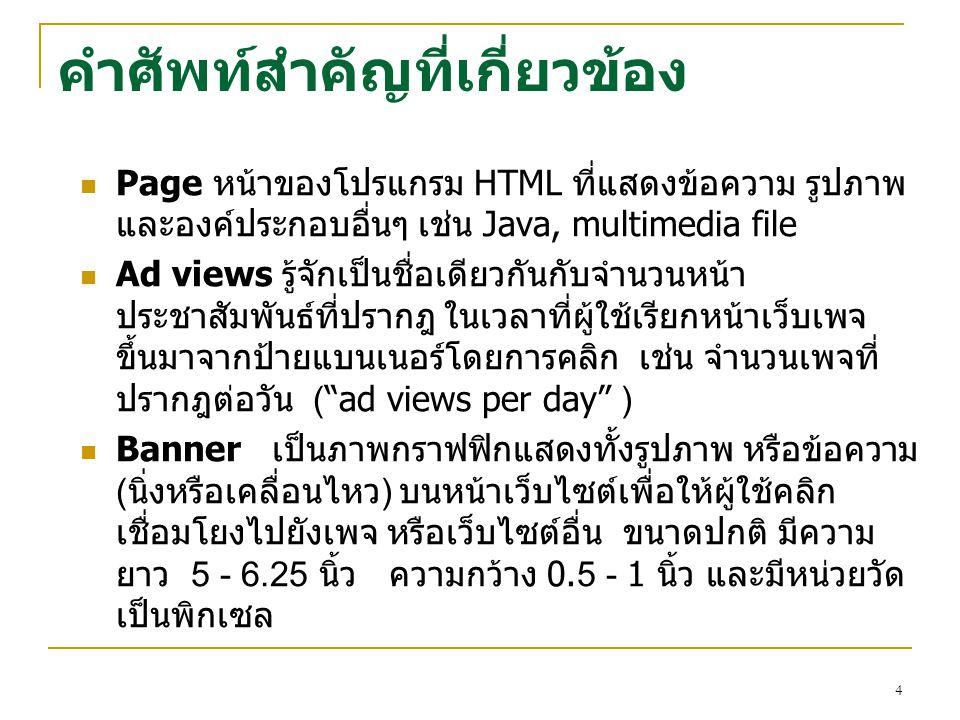 4 คำศัพท์สำคัญที่เกี่ยวข้อง Page หน้าของโปรแกรม HTML ที่แสดงข้อความ รูปภาพ และองค์ประกอบอื่นๆ เช่น Java, multimedia file Ad views รู้จักเป็นชื่อเดียวก