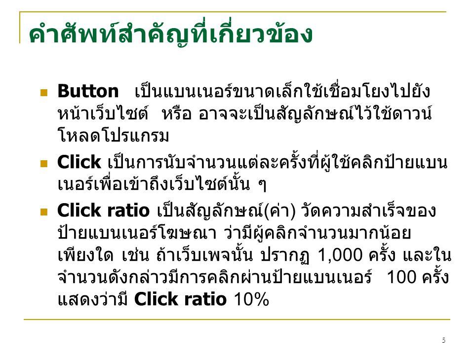5 คำศัพท์สำคัญที่เกี่ยวข้อง Buttonเป็นแบนเนอร์ขนาดเล็กใช้เชื่อมโยงไปยัง หน้าเว็บไซต์ หรือ อาจจะเป็นสัญลักษณ์ไว้ใช้ดาวน์ โหลดโปรแกรม Click เป็นการนับจำ