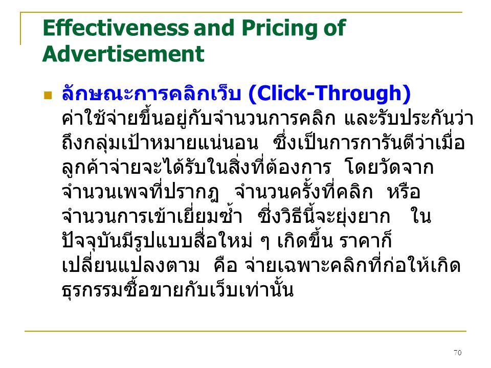 70 Effectiveness and Pricing of Advertisement ลักษณะการคลิกเว็บ (Click-Through) ค่าใช้จ่ายขึ้นอยู่กับจำนวนการคลิก และรับประกันว่า ถึงกลุ่มเป้าหมายแน่น