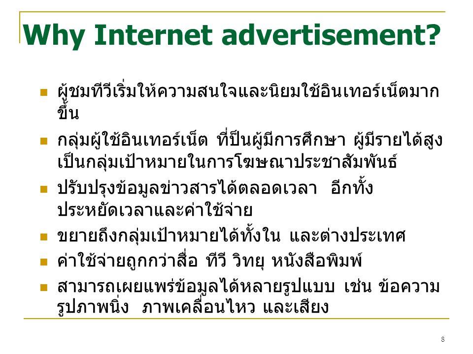 9 สามารถประชาสัมพันธ์บริการด้านความบันเทิง หรือเกมส์ หรือการส่งเสริมการขายได้ง่าย มีผู้ใช้งาน Web TV และ Internet radio เพิ่มมาก ขึ้น สามารถสร้างความสัมพันธ์เฉพาะกลุ่ม หรือแต่ละ บุคคลได้ มีผู้ใช้งานอินเทอร์เน็ตเพิ่มขึ้นอย่างรวดเร็ว Why Internet Advertisement .