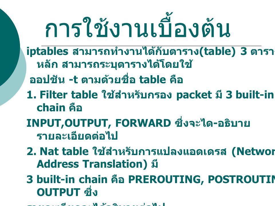 การใช้งานเบื้องต้น iptables สามารถทำงานได้กับตาราง (table) 3 ตาราง หลัก สามารถระบุตารางได้โดยใช้ ออปชัน -t ตามด้วยชื่อ table คือ 1. Filter table ใช้สำ
