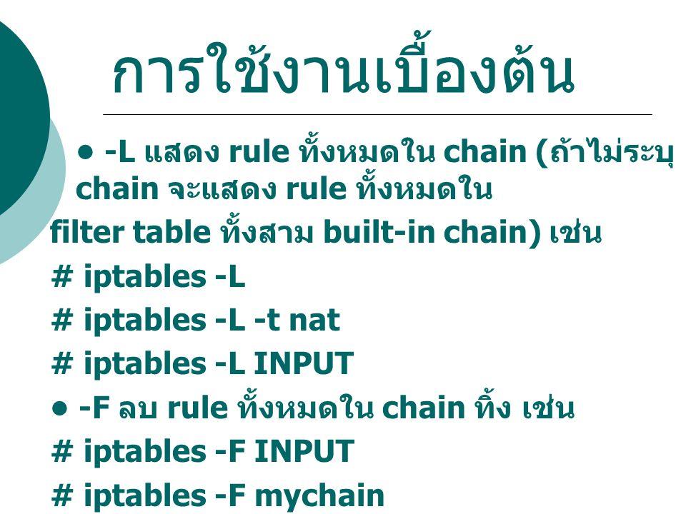 การใช้งานเบื้องต้น -L แสดง rule ทั้งหมดใน chain ( ถ้าไม่ระบุ chain จะแสดง rule ทั้งหมดใน filter table ทั้งสาม built-in chain) เช่น # iptables -L # ipt