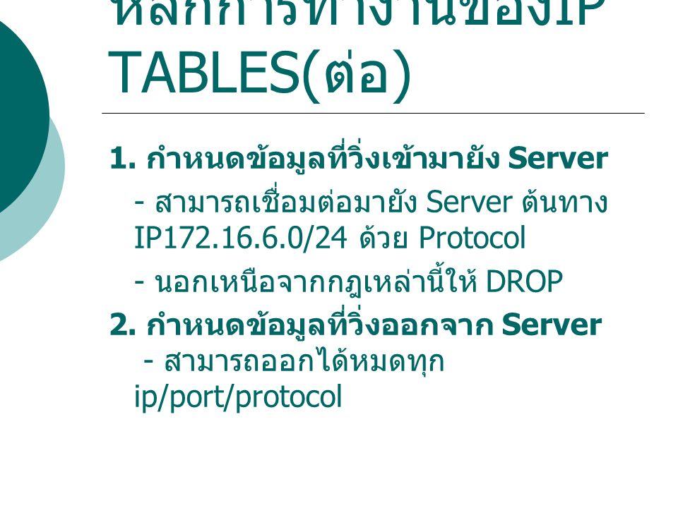 หลักการทำงานของ IP TABLES( ต่อ ) 1. กำหนดข้อมูลที่วิ่งเข้ามายัง Server - สามารถเชื่อมต่อมายัง Server ต้นทาง IP172.16.6.0/24 ด้วย Protocol - นอกเหนือจา