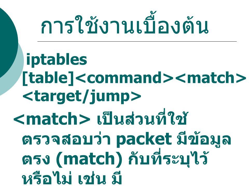 การใช้งานเบื้องต้น iptables [table] เป็นส่วนที่ใช้ ตรวจสอบว่า packet มีข้อมูล ตรง (match) กับที่ระบุไว้ หรือไม่ เช่น มี source ip address เป็น 1.2.3.4