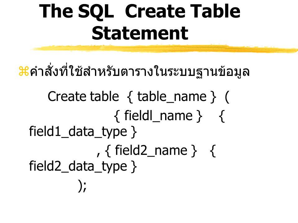 The SQL Create Table Statement  คำสั่งที่ใช้สำหรับตารางในระบบฐานข้อมูล Create table { table_name } ( { fieldl_name } { field1_data_type }, { field2_n
