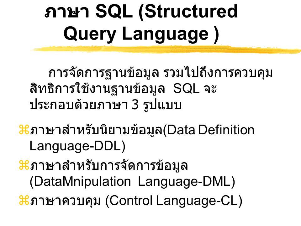 The SQL Delete Statement  คำสั่งที่ ใช้ลบข้อมูลในแต่ละแถวของตาราง DELETE FROM {table_name} WHERE {where_clause} ;