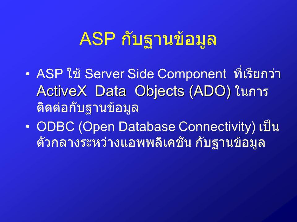 การใช้งาน Recordset Object เพื่อ เพิ่มเรคอร์ด ใช้เมธอด AddNew Set Conn = Server.CreateObject(ADODB.Connection) Conn.Open MyDSN , admin , Set Rs = Server.CreateObjec(ADODB.Recordset) Rs.CursorType = adOpenKeySet Rs.LockType = adLockOptimistic Rs.Source = MyTable Rs.ActiveConnection= Conn Rs.Open