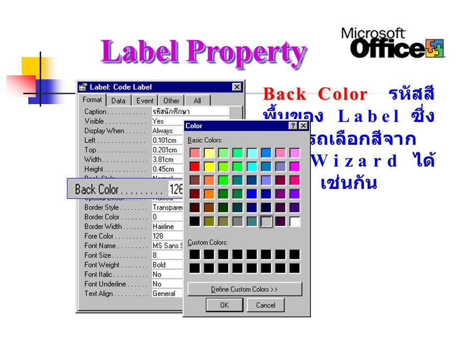 Label Property Back Color Back Color รหัสสี พื้นของ Label ซึ่ง สามารถเลือกสีจาก การ Wizard ได้ เช่นกัน