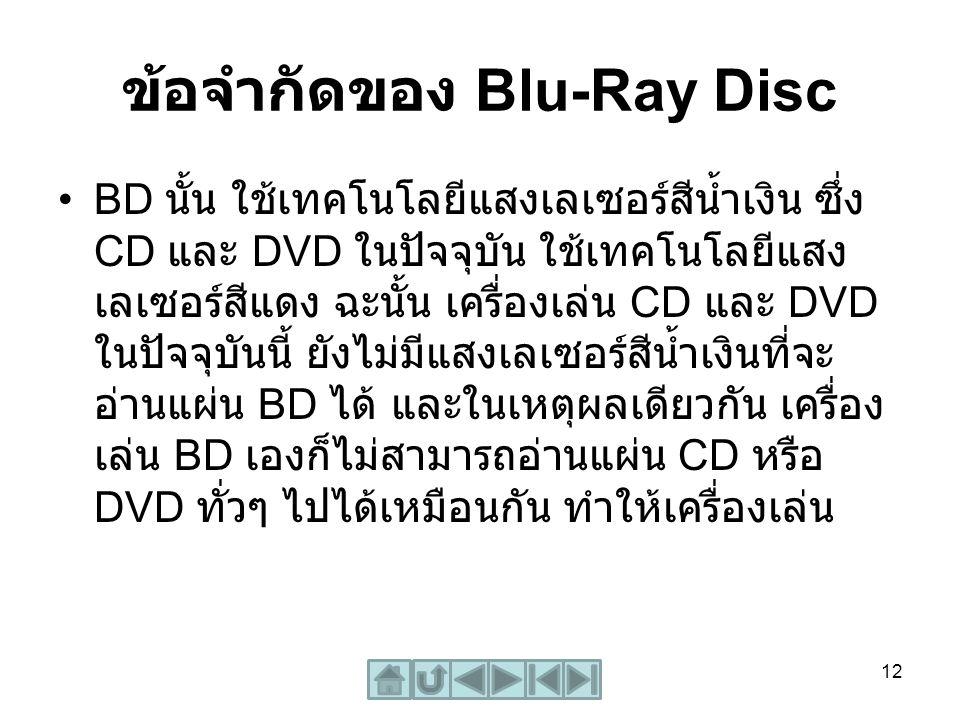 ข้อจำกัดของ Blu-Ray Disc BD นั้น ใช้เทคโนโลยีแสงเลเซอร์สีน้ำเงิน ซึ่ง CD และ DVD ในปัจจุบัน ใช้เทคโนโลยีแสง เลเซอร์สีแดง ฉะนั้น เครื่องเล่น CD และ DVD