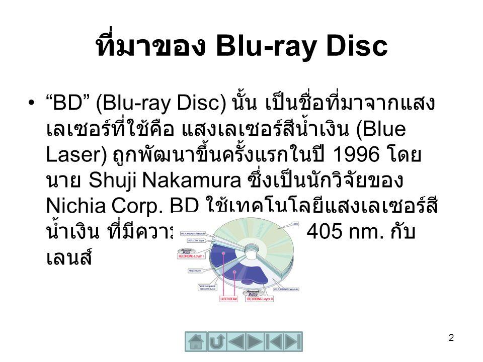 """ที่มาของ Blu-ray Disc """"BD"""" (Blu-ray Disc) นั้น เป็นชื่อที่มาจากแสง เลเซอร์ที่ใช้คือ แสงเลเซอร์สีน้ำเงิน (Blue Laser) ถูกพัฒนาขึ้นครั้งแรกในปี 1996 โดย"""