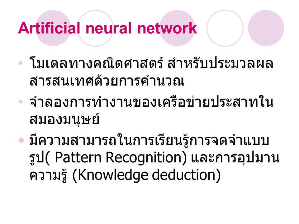 Artificial neural network โมเดลทางคณิตศาสตร์ สำหรับประมวลผล สารสนเทศด้วยการคำนวณ จำลองการทำงานของเครือขายประสาทใน สมองมนุษย์ มีความสามารถในการเรียนรู