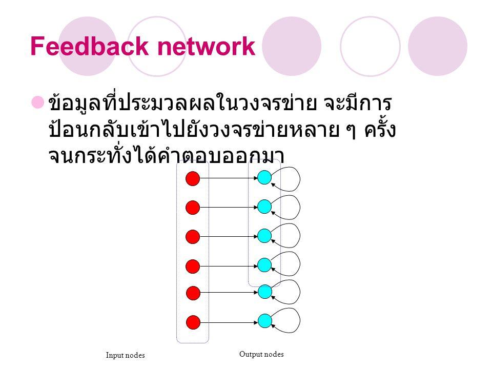 Feedback network ข้อมูลที่ประมวลผลในวงจรข่าย จะมีการ ป้อนกลับเข้าไปยังวงจรข่ายหลาย ๆ ครั้ง จนกระทั่งได้คำตอบออกมา Input nodes Output nodes
