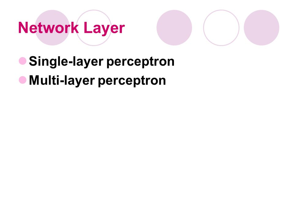 Network Layer Single-layer perceptron Multi-layer perceptron