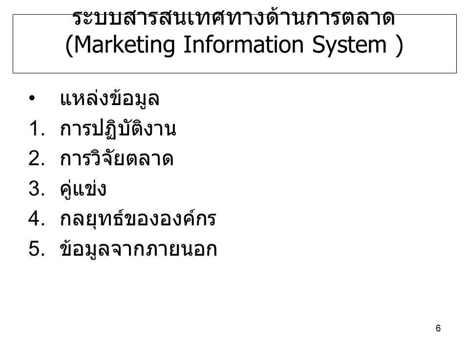 6 ระบบสารสนเทศทางด้านการตลาด (Marketing Information System ) แหล่งข้อมูล 1.