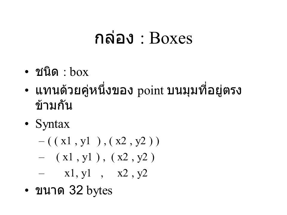 กล่อง : Boxes ชนิด : box แทนด้วยคู่หนึ่งของ point บนมุมที่อยู่ตรง ข้ามกัน Syntax –( ( x1, y1 ), ( x2, y2 ) ) – ( x1, y1 ), ( x2, y2 ) – x1, y1, x2, y2