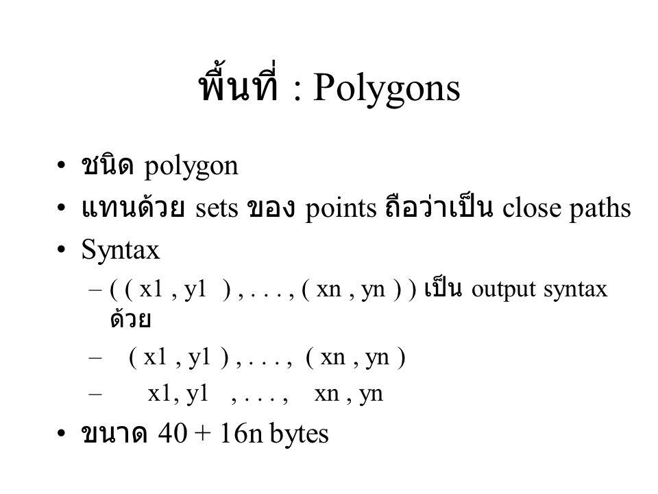 พื้นที่ : Polygons ชนิด polygon แทนด้วย sets ของ points ถือว่าเป็น close paths Syntax –( ( x1, y1 ),..., ( xn, yn ) ) เป็น output syntax ด้วย – ( x1,