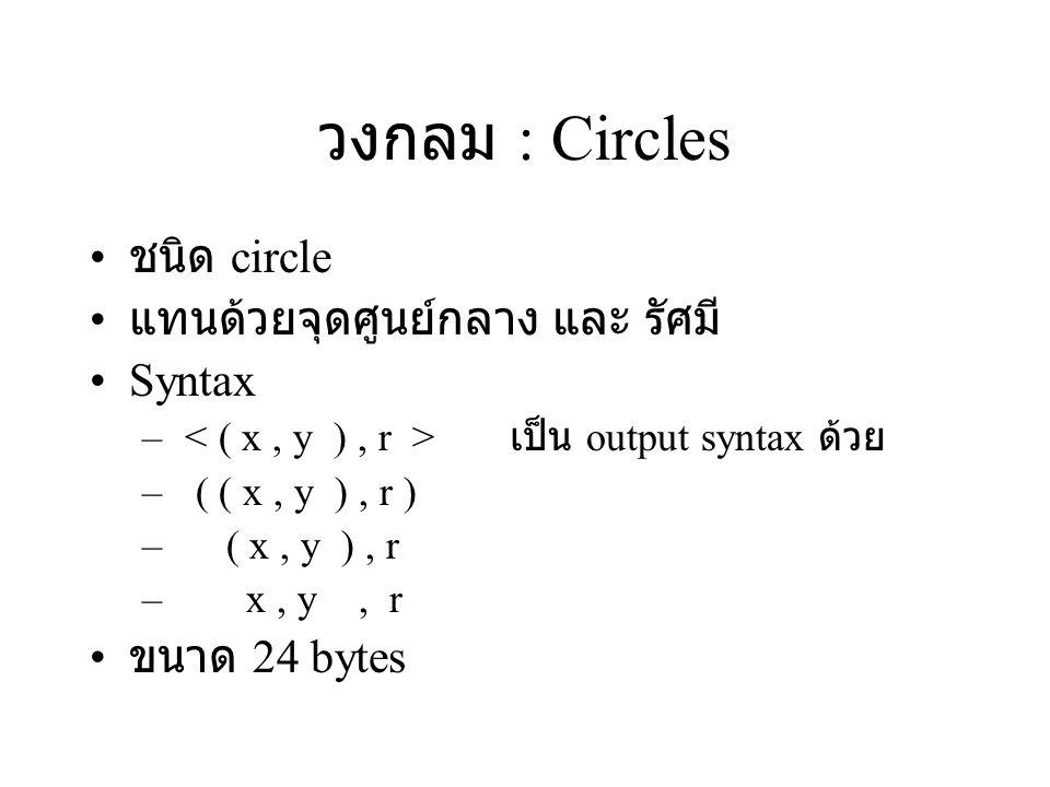 วงกลม : Circles ชนิด circle แทนด้วยจุดศูนย์กลาง และ รัศมี Syntax – เป็น output syntax ด้วย – ( ( x, y ), r ) – ( x, y ), r – x, y, r ขนาด 24 bytes