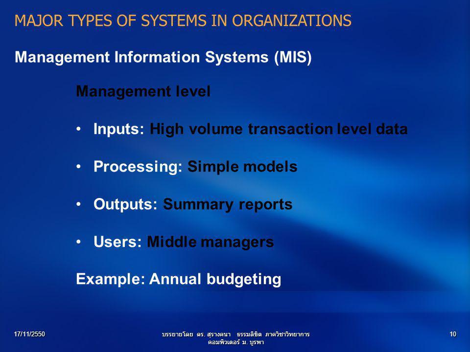 17/11/2550บรรยายโดย ดร. สุรางคนา ธรรมลิขิต ภาควิชาวิทยาการ คอมพิวเตอร์ ม. บูรพา 10 Management Information Systems (MIS) Management level Inputs: High