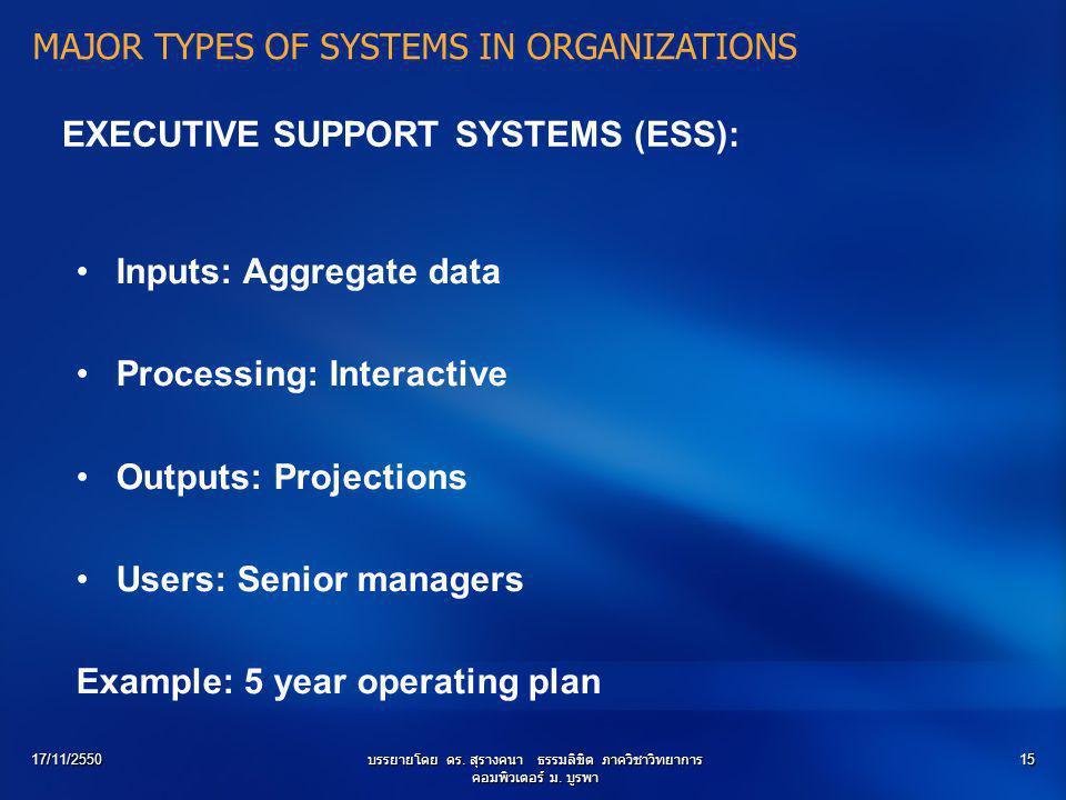 17/11/2550บรรยายโดย ดร. สุรางคนา ธรรมลิขิต ภาควิชาวิทยาการ คอมพิวเตอร์ ม. บูรพา 15 EXECUTIVE SUPPORT SYSTEMS (ESS): Inputs: Aggregate data Processing:
