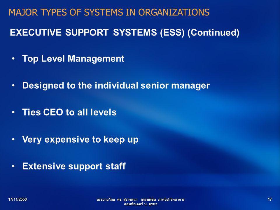 17/11/2550บรรยายโดย ดร. สุรางคนา ธรรมลิขิต ภาควิชาวิทยาการ คอมพิวเตอร์ ม. บูรพา 17 EXECUTIVE SUPPORT SYSTEMS (ESS) (Continued) Top Level Management De