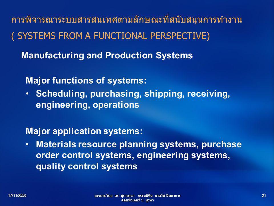 17/11/2550บรรยายโดย ดร. สุรางคนา ธรรมลิขิต ภาควิชาวิทยาการ คอมพิวเตอร์ ม. บูรพา 21 Manufacturing and Production Systems Major functions of systems: Sc