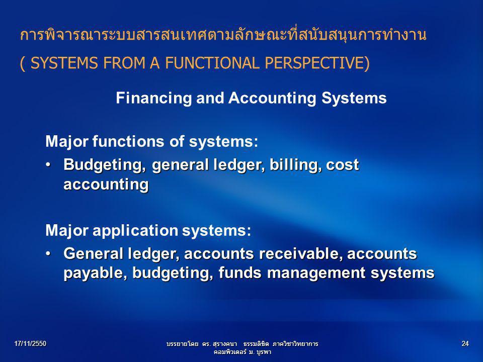 17/11/2550บรรยายโดย ดร. สุรางคนา ธรรมลิขิต ภาควิชาวิทยาการ คอมพิวเตอร์ ม. บูรพา 24 Financing and Accounting Systems Major functions of systems: Budget