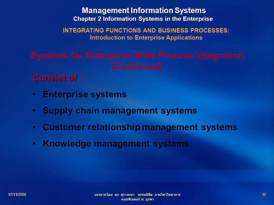 17/11/2550บรรยายโดย ดร. สุรางคนา ธรรมลิขิต ภาควิชาวิทยาการ คอมพิวเตอร์ ม. บูรพา 32 Consist of Consist of : Enterprise systems Supply chain management