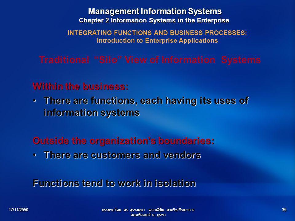 17/11/2550บรรยายโดย ดร. สุรางคนา ธรรมลิขิต ภาควิชาวิทยาการ คอมพิวเตอร์ ม. บูรพา 35 Management Information Systems Management Information Systems Chapt