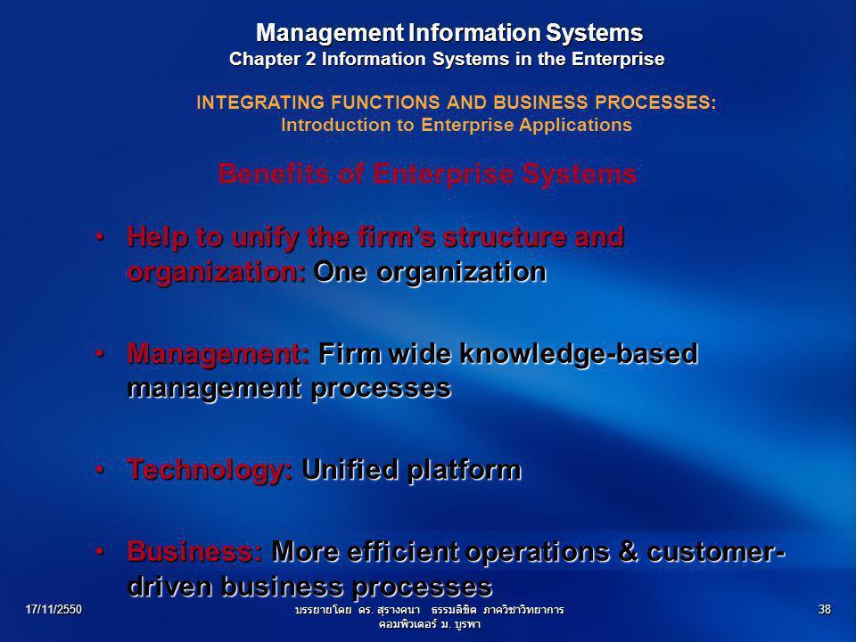 17/11/2550บรรยายโดย ดร. สุรางคนา ธรรมลิขิต ภาควิชาวิทยาการ คอมพิวเตอร์ ม. บูรพา 38 Management Information Systems Management Information Systems Chapt