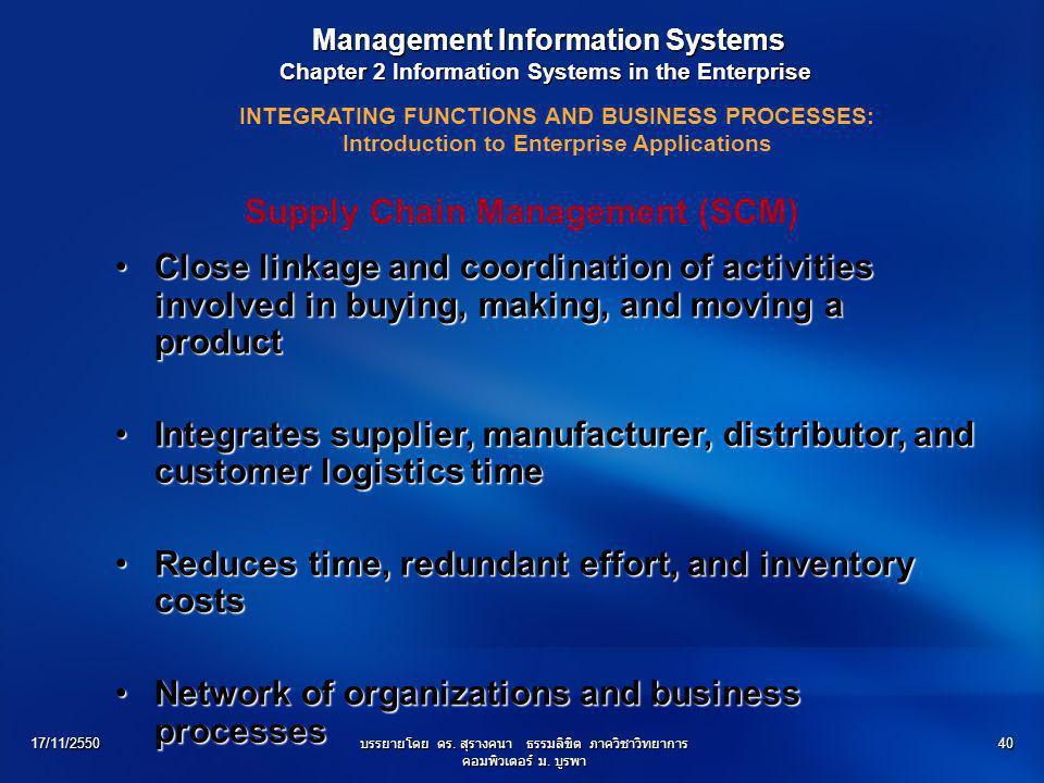 17/11/2550บรรยายโดย ดร. สุรางคนา ธรรมลิขิต ภาควิชาวิทยาการ คอมพิวเตอร์ ม. บูรพา 40 Management Information Systems Management Information Systems Chapt