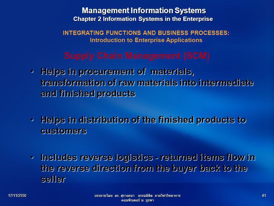 17/11/2550บรรยายโดย ดร. สุรางคนา ธรรมลิขิต ภาควิชาวิทยาการ คอมพิวเตอร์ ม. บูรพา 41 Management Information Systems Management Information Systems Chapt