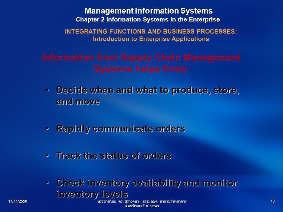 17/11/2550บรรยายโดย ดร. สุรางคนา ธรรมลิขิต ภาควิชาวิทยาการ คอมพิวเตอร์ ม. บูรพา 43 Management Information Systems Management Information Systems Chapt