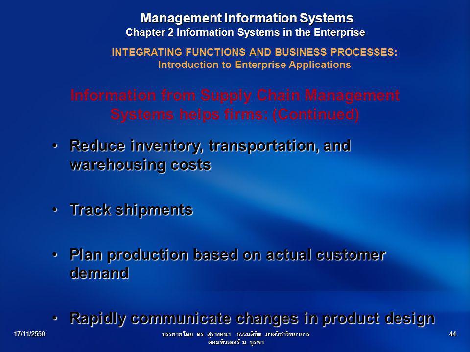 17/11/2550บรรยายโดย ดร. สุรางคนา ธรรมลิขิต ภาควิชาวิทยาการ คอมพิวเตอร์ ม. บูรพา 44 Management Information Systems Management Information Systems Chapt