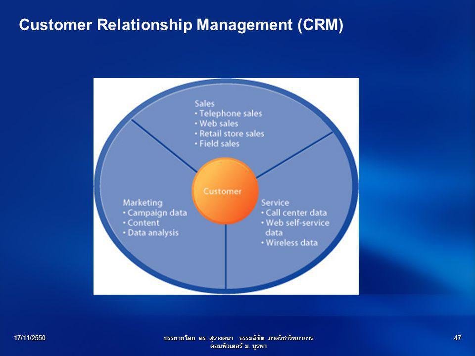 17/11/2550บรรยายโดย ดร. สุรางคนา ธรรมลิขิต ภาควิชาวิทยาการ คอมพิวเตอร์ ม. บูรพา 47 Customer Relationship Management (CRM)