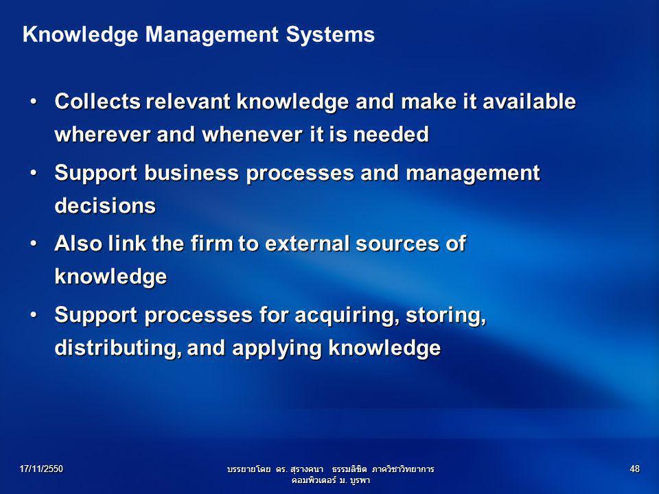 17/11/2550บรรยายโดย ดร. สุรางคนา ธรรมลิขิต ภาควิชาวิทยาการ คอมพิวเตอร์ ม. บูรพา 48 Knowledge Management Systems Collects relevant knowledge and make i