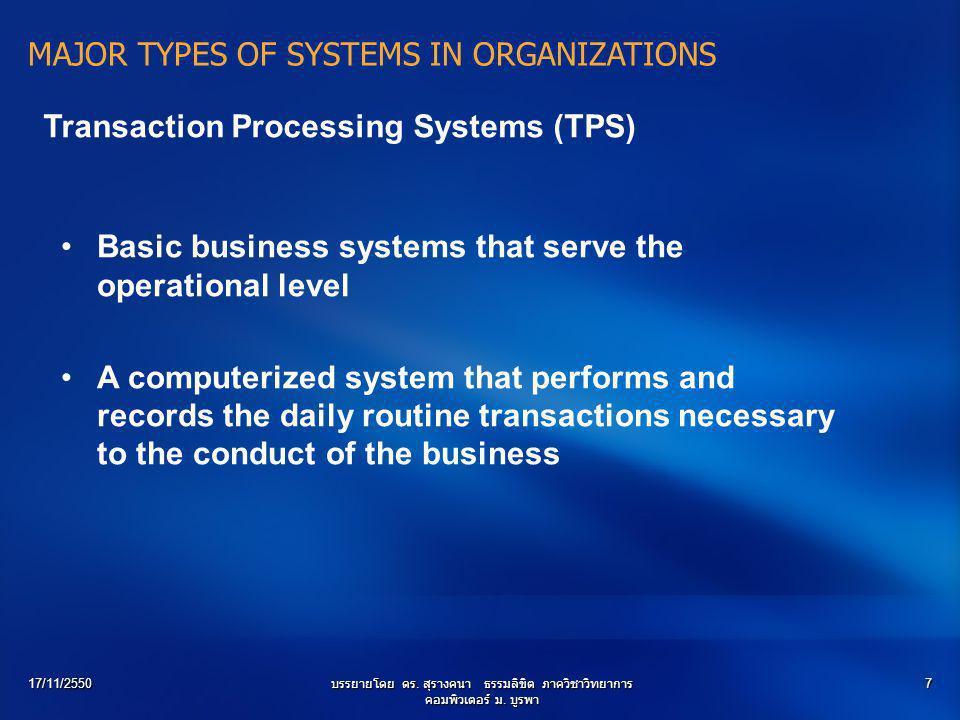 17/11/2550บรรยายโดย ดร. สุรางคนา ธรรมลิขิต ภาควิชาวิทยาการ คอมพิวเตอร์ ม. บูรพา 7 MAJOR TYPES OF SYSTEMS IN ORGANIZATIONS Transaction Processing Syste