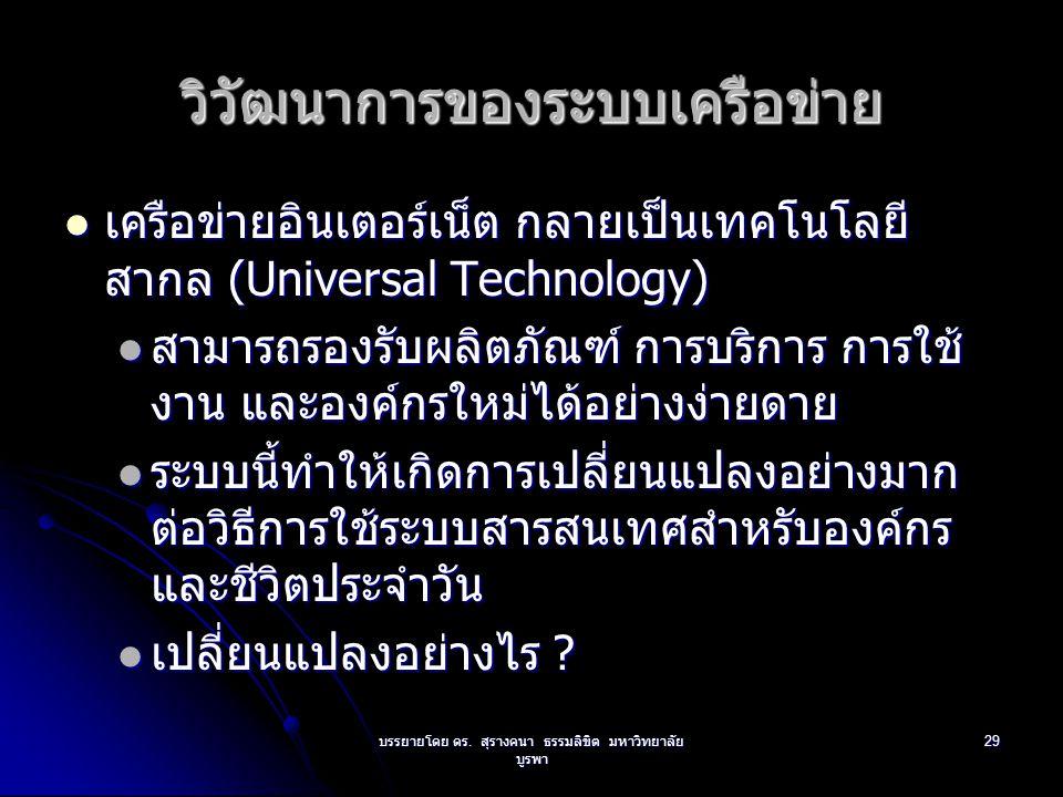 บรรยายโดย ดร. สุรางคนา ธรรมลิขิต มหาวิทยาลัย บูรพา 29 วิวัฒนาการของระบบเครือข่าย เครือข่ายอินเตอร์เน็ต กลายเป็นเทคโนโลยี สากล (Universal Technology) เ