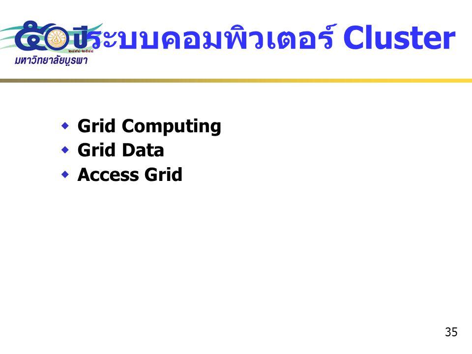 35 ระบบคอมพิวเตอร์ Cluster  Grid Computing  Grid Data  Access Grid