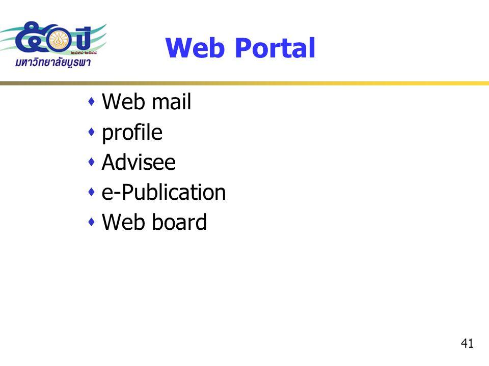 41 Web Portal  Web mail  profile  Advisee  e-Publication  Web board