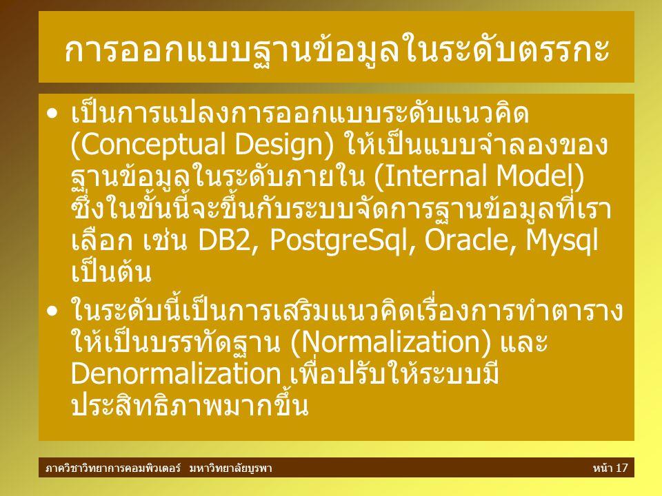 ภาควิชาวิทยาการคอมพิวเตอร์ มหาวิทยาลัยบูรพาหน้า 17 การออกแบบฐานข้อมูลในระดับตรรกะ เป็นการแปลงการออกแบบระดับแนวคิด (Conceptual Design) ให้เป็นแบบจำลองข