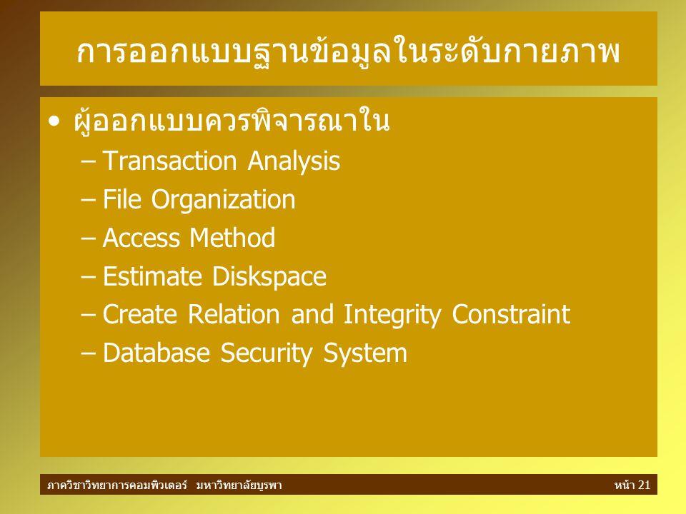 ภาควิชาวิทยาการคอมพิวเตอร์ มหาวิทยาลัยบูรพาหน้า 21 การออกแบบฐานข้อมูลในระดับกายภาพ ผู้ออกแบบควรพิจารณาใน –Transaction Analysis –File Organization –Acc
