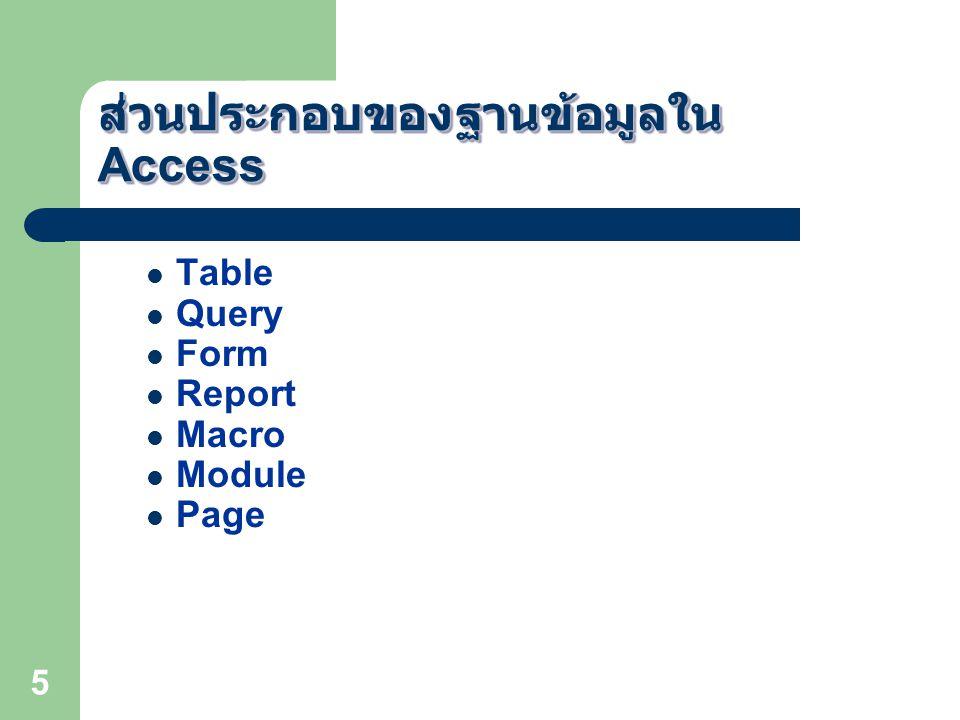 5 ส่วนประกอบของฐานข้อมูลใน Access Table Query Form Report Macro Module Page