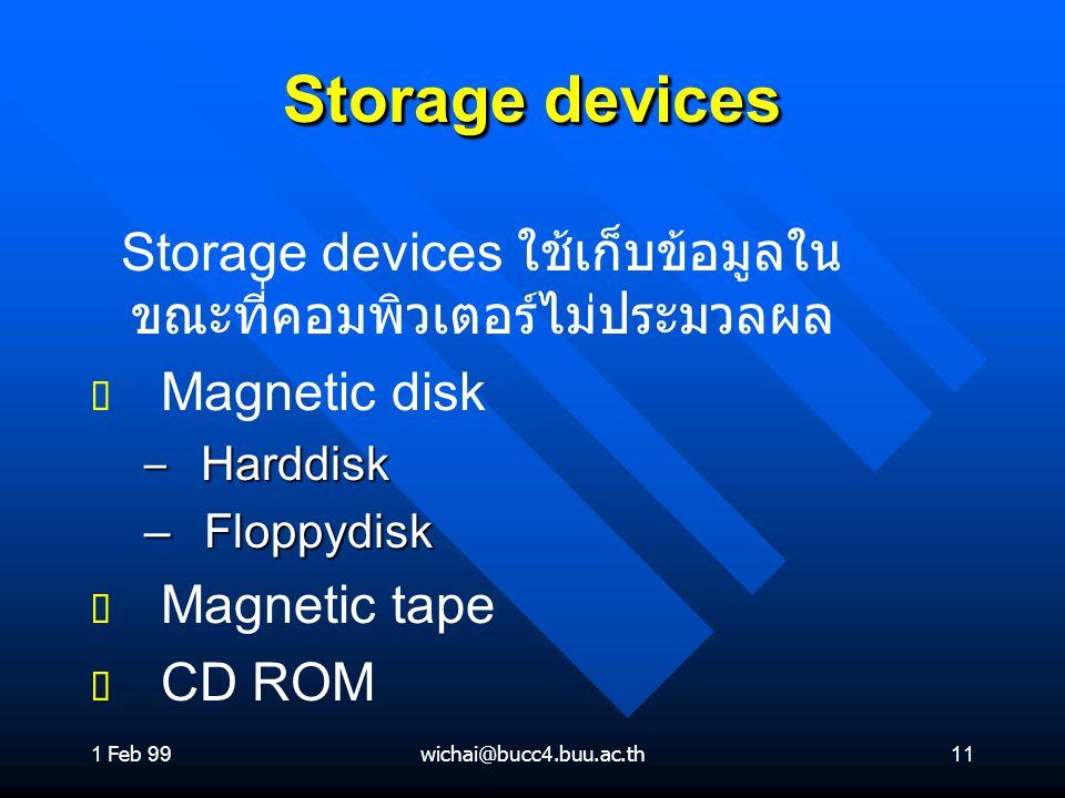 1 Feb 99wichai@bucc4.buu.ac.th11 Storage devices Storage devices ใช้เก็บข้อมูลใน ขณะที่คอมพิวเตอร์ไม่ประมวลผล ต ต Magnetic disk – Harddisk – Floppydis