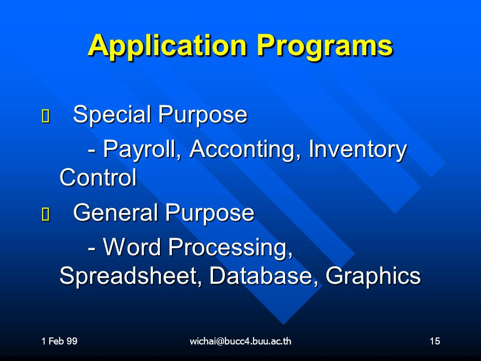 1 Feb 99wichai@bucc4.buu.ac.th15 Application Programs ต Special Purpose - Payroll, Acconting, Inventory Control - Payroll, Acconting, Inventory Control ต General Purpose - Word Processing, Spreadsheet, Database, Graphics - Word Processing, Spreadsheet, Database, Graphics