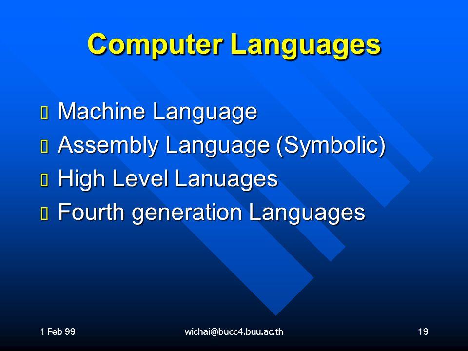 1 Feb 99wichai@bucc4.buu.ac.th19 Computer Languages ต Machine Language ต Assembly Language (Symbolic) ต High Level Lanuages ต Fourth generation Langua