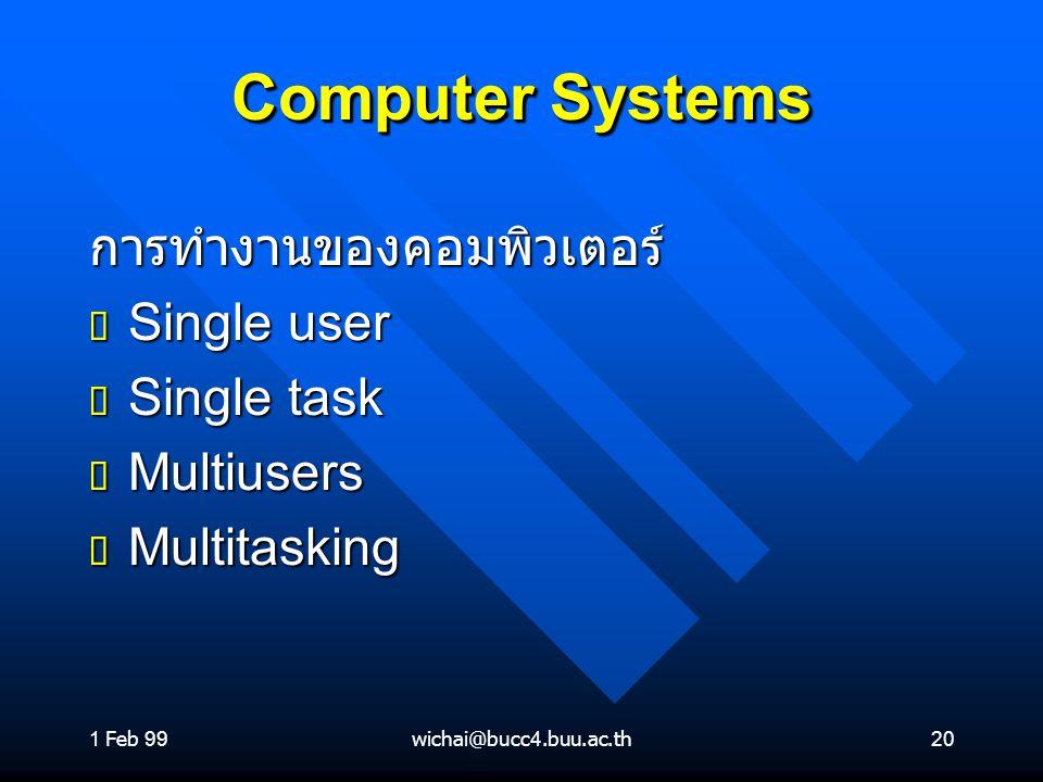 1 Feb 99wichai@bucc4.buu.ac.th20 Computer Systems การทำงานของคอมพิวเตอร์ ต Single user ต Single task ต Multiusers ต Multitasking
