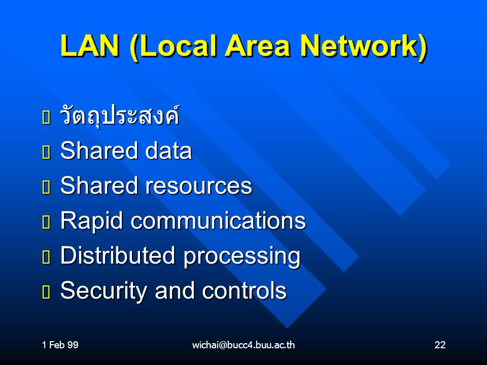 1 Feb 99wichai@bucc4.buu.ac.th22 LAN (Local Area Network) ต วัตถุประสงค์ ต Shared data ต Shared resources ต Rapid communications ต Distributed processing ต Security and controls