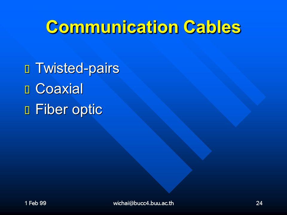 1 Feb 99wichai@bucc4.buu.ac.th24 Communication Cables ต Twisted-pairs ต Coaxial ต Fiber optic